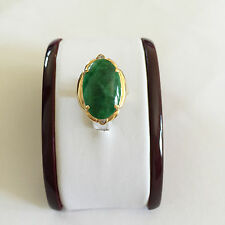 18K Yellow Gold Oval Jade Women Ring -  size 6.5 - R257