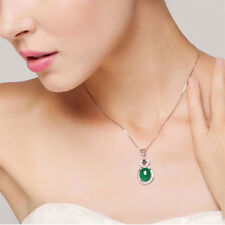 Natural Emerald & Diamond Silver Pendant Green Gemstone Wedding Party Jewelry