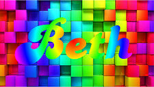 Rainbow Blocks & Personalized Name Color Wall Sticker Wall Mural 3FT Wide
