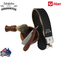 Shaver Kit Cut Throat Straight Razor Shaving Brush Leather Strop
