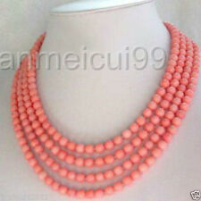 Fashion jewelry 4 Strands 6-7mm Pink Coral Necklace