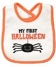 """Carter's White/Orange """"My First Halloween"""" Bib w/Spider  - MSRP $10"""