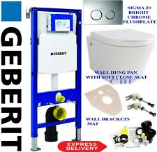 Geberit UP320 wc  wall hung toilet frame + pan + flushplate + brackets + mat