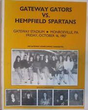 GATEWAY GATORS vs  HEMPFIELD SPARTANS 1987 FOOTBALL PROGRAM MONROEVILLE, PA