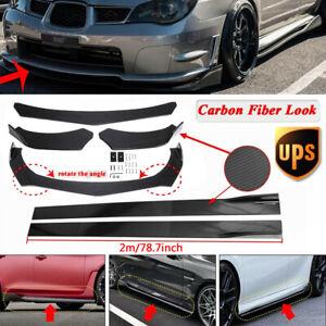 Carbon Fiber Universal Front Bumper Lip Spoiler Splitter +78.7'' Side Skirts Kit