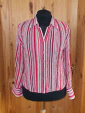 M&S pink red ivory beige black stripe chiffon long sleeve blouse shirt top 18 46