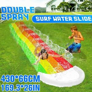 4m Double Spray Inflatable Lawn Water Slide Kids Summer Outdoor Backyard Water