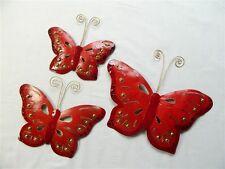 Butterfly Wall Art Ornament - Metal Butterflies Wall Hanging - Red - Set of 3