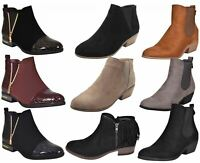 Ladies Chelsea Faux Suede Ankle Boots Womens Fashion Cowboy Low Mid Heels Shoes