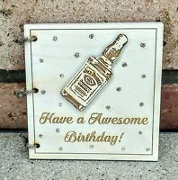 Personalised Wooden Birthday Card Whisky Bottle Alcohol Funny Gift Jack Daniel's