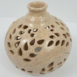 Incense Burner Lantern Candle Holder Vase Beige Filigree Felted Glazed Ceramic