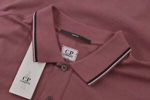 C.P. Company NWT Polo Shirt Short Sleeve Size L Berry Pink With Black Slim Fit