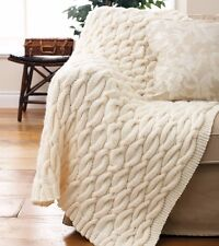 "KNITTING PATTERN - GORGEOUS SHETLAND CHUNKY KNIT CABLE AFGHAN/BLANKET 50"" x 55"""