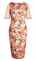 Ladies Bodycon Midi Dress in Floral Peach Lilies Print Sizes 10-12-14  New Price