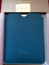 **BVLGARI BULGARI IPAD CASE COVER BAG SLEEVE POUCH PURSE CLUTCH BLUE TEAL NEW**