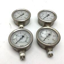 "Lot of 4 Wika 0-30 PSI Liquid Filled Pressure Gauge, 316SS, 1/4"" NPT Bottom"