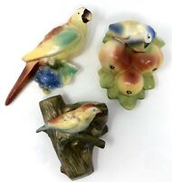 Set of 3 Vintage Parrot Bird w/ Fruit Ceramic Wall Pockets Czechoslovakia