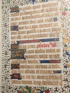 Illuminated Manuscript Psalm 9:00 Latin Vellum