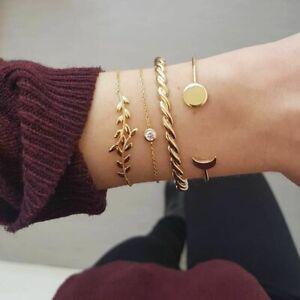 4pc Flower Moon Diamond Bracelet Fashion Jewellery Set New