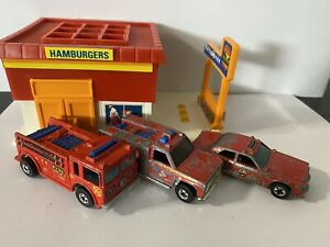 Hot Wheels Fire Eater, Fire Rescue Truck, Fire Chief Car Vintage Lot