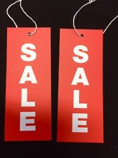 100 Sale Red with White Large Swing Tags Strung with Cotton Text 40mm x 100mm
