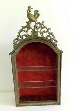 Antique French Iron Cabinet Rare Vitrine Display Case with Bronze Pediment