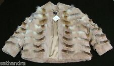 NWT St John Sport Marie Gray Real Rabbit & Fox Fur Jacket $890 L Camel Tan 12 14