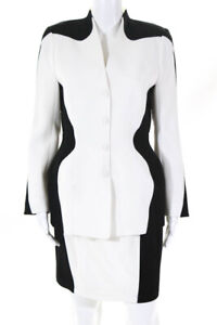Thierry Mugler Womens Color Block Pencil Skirt Suit Black White Size 40 LL19LL
