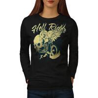 Wellcoda Riding Hell Metal Biker Womens Long Sleeve T-shirt, Rose Casual Design