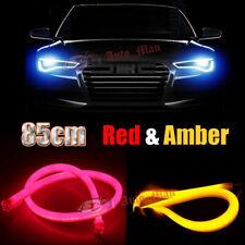 2pcs 85cm Amber Red Switchback Soft Tube LED Strips Car Motor Headlight Retrofit