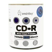 Smartbuy CD-R 52X 700MB/80Min White Inkjet Hub Printable Blank Media Record Disc