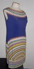 MAGGY LONDON MS SIZE 8 NAVY BLUE AND MULTI-COLOR SUN DIAL PRINT SHEATH DRESS