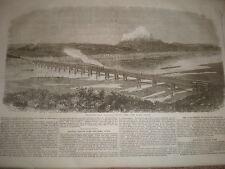 PONTE FERROVIARIO A TRALICCIO nel corso dell'Ebro SPAGNA 1862 old print e l'articolo