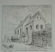 Kenzingen Amtshaus Kirche Franziskaner Baden Original Litho Lederle 1880