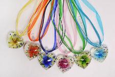 FREE Wholesale Lot 6pcs Heart Flower Lampwork Glass Pendants Silk Necklace