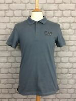 EA7 EMPORIO ARMANI MENS UK M GREY COLLAR SHORT SLEEVE POLO SHIRT DESIGNER CASUAL