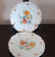 Schumann-Bavaria Dresden Flowers Scalloped Rim Salad Plates 3 FloralBasket Weave