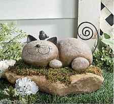 FAUX stone rock pet CAT kitty sculpture Garden LAWN ART outdoor yard STATUE