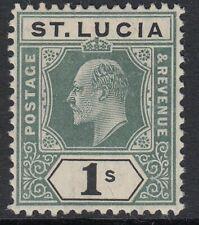 ST.LUCIA SG74 1905 1/= GREEN & BLACK MTD MINT