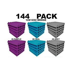 """Acoustic Foam 12x12x2"""" Wedge 144 Pack Teal Gray Purple Combo"""