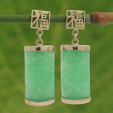 Curved Green Jade Oriental Earring Tpj 14k Solid Yellow Gold Good Fortune Dangle