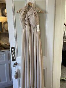 Womens Beige Lightweight Halterneck Evening Dress