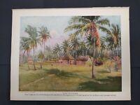 Vintage Native Village Print 1913 Panama Canal Zone Tropical Print