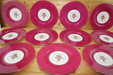"Spode Copeland R8194 (11) Dinner Plates, 10 3/8"" Red/ Dark Magenta Pink"