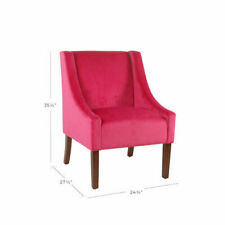 Meadow Lane Modern Velvet Swoop Arm Accent Chair - Pink