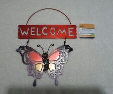 Metal Tin Hanging Welcome Orange Butterfly Sign Home Garden Door Wall New