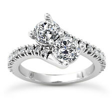 Solitaire 1.62 Carat VS2/H Round Cut 2 Stone Diamond Engagement Ring White Gold