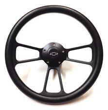 1966 Chevelle, El Camino Black on Black Steering Wheel Chevy Horn Kit + Adapter