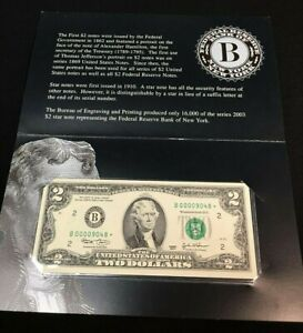 2003 TWO DOLLAR ***STAR*** NOTE - B NEW YORK - LOW SERIAL - CHOICE UNCIRCULATED
