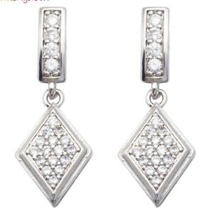 Stunning diamond drop style 18k white gold plated earings *NEW*